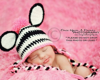 Zebra Hat, Baby Zebra Hat, Newborn Zebra Hat, Newborn Photography Prop, Baby Shower Gift, Crochet Baby Zebra Hat, Crochet Newborn Zebra Hat