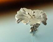 Ginkgo Sterling Silver Ring- Leaf Ring - Hand Sculpted - Ginkgo Ring
