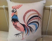 Upcycled 1950s 60s Retro Rooster Pillow Pink and Blue