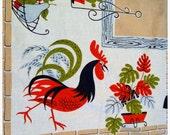 SALE Vintage 1960s Mod Rooster Tablecloth