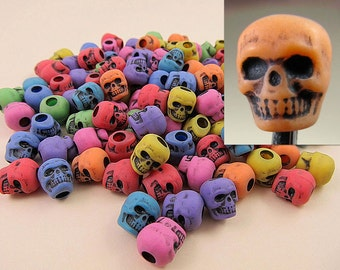100 Plastic Multicolor Skull Pony Beads 10mm - Halloween, Goth, Day of The Dead