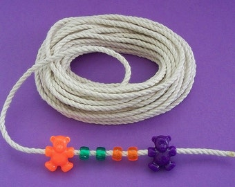 1/8 inch 100% cotton rope/cord with no unkown fiber blends, 50 feet