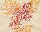 Firey embroidered Phoenix Baby Bib
