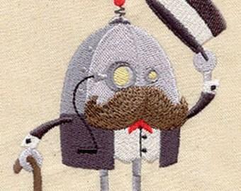 Steampunk Robot embroidered baby bib