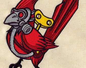 Gasmask Cardinal embroidered baby bib