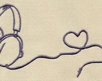 Geekster love embroidered feeding bib.
