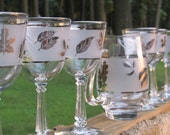 Vintage Glass, Silver Leaves on Frosted Glass Pitcher and Six Stems - Beautiful