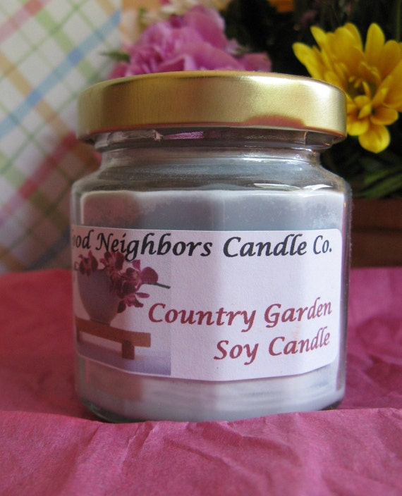 Country Garden Soy Candle 4 ounce in 12 sided jar with gold lid