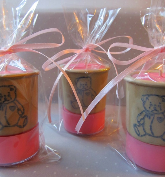 Baby Shower Favors, Soy Tealight Candles, Teddy Bear Pottery on a Soy Tea Light Pedestal, Baby Powder Candle, Quantity Discounts