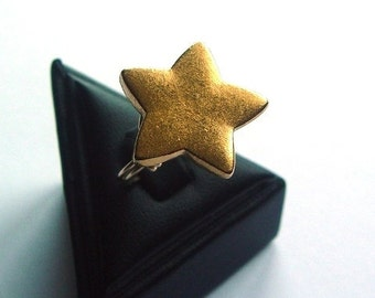 Brass Star Button in Gold-Filled Wire Wrap Ring - R208 - Size 7.25