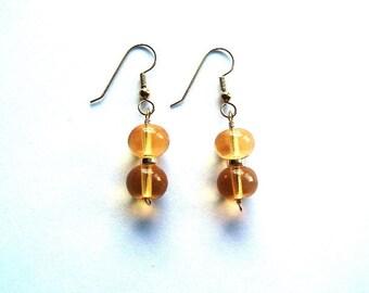 E612  Orange Quartz Gold Earrings