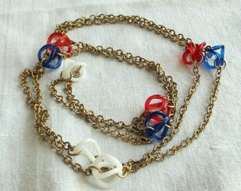 Vintage Red White Blue Lucite Necklace with Gold Chain - Mid Century Modern, Patriotic, Long, Flapper, Mod, Mad Men, Nautical, Long, July 4