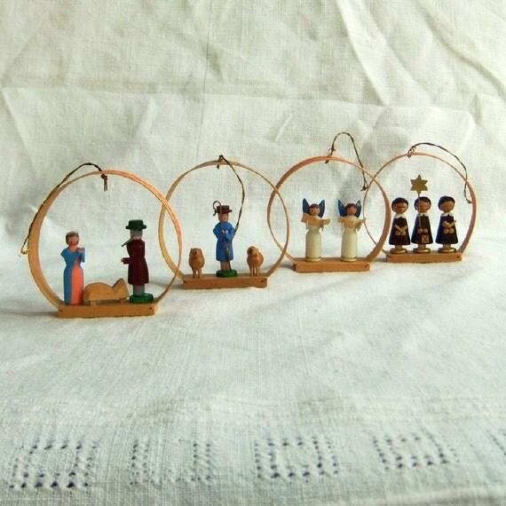 Vintage Wood Christmas Tree Ornaments in original box - Nativity