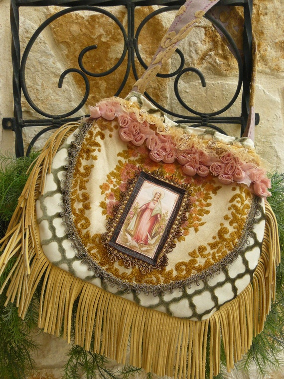 Summer Garden Party....Carpet Bag/Purse with Leather Fringe and French Tapestry/Boho/Bohemian