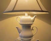 Whimsical Shabby Country Cottage Teapot Lamp