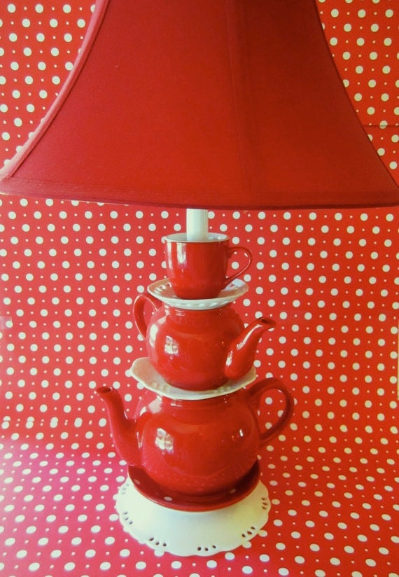 Red Teapot Lamp Stacked Teapots With Tea Cup And By