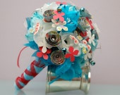 Wedding - Paper Flower Bridal Bouquet - Blue Wedding with accents of Red Paper Flowers