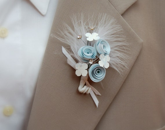 Paper Flower Boutonniere - Baby blue with diamonds