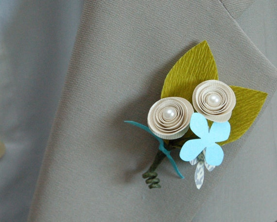 Paper Flower Boutonniere - Ivory and Teal