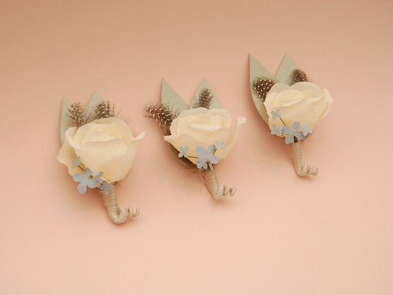 Paper Flower Boutonniere - Ivory crepe paper boutonniere accented with guinea feathers