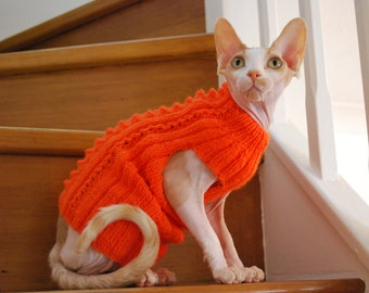 Knit sweater,merino wool hand-knitted sweater for small dogs or cats, cat clothing, cat wear, knitted jumper, sphynx sweater, orange sweater