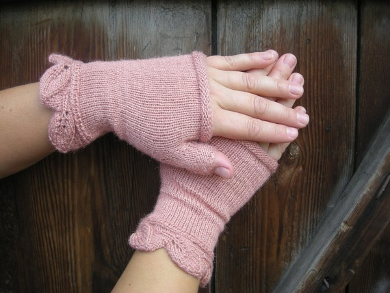 Hand-knitted romantic fingerless women's gloves - HALF PRICE