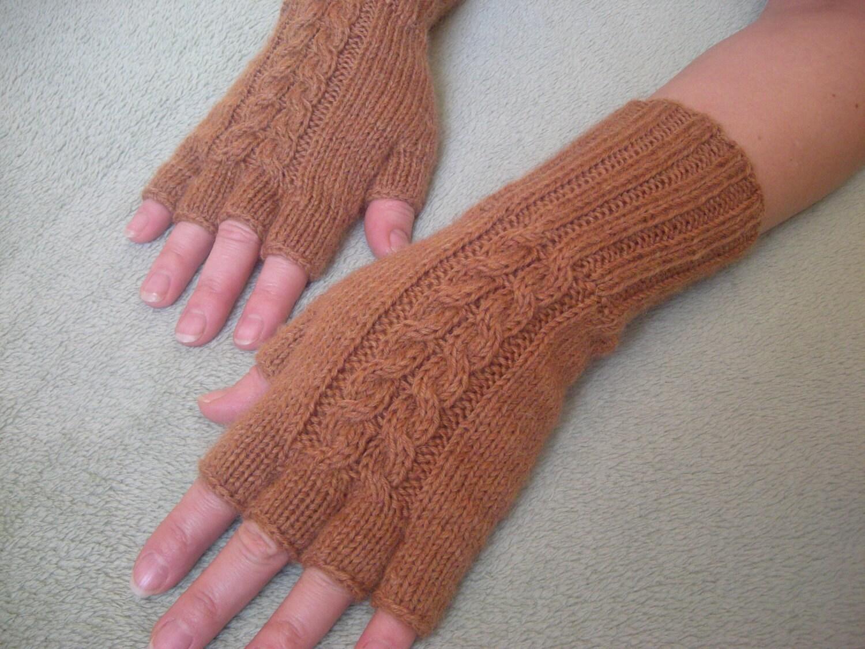Knitting Pattern Gloves Half Fingers : Hand-knitted half finger womens gloves wool gloves