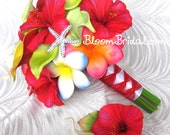 Real touch Plumerias, Calla Lilies and premium silk Hibiscus bouquet