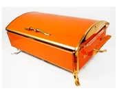 Anchor Hocking Fire King Large Chafing Dish, Jewelry Box -Coffee Table Box-Tangering Orange -Atomic, Mid Century Modern, Covered Casserole