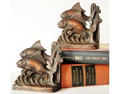 RESERED for JENNIFEROLENN Book Ends,Bookends, Two Fish by Hubley, Art Deco1920s,Cast iron Beauties,Nautical,Sea,Book Shelf Display
