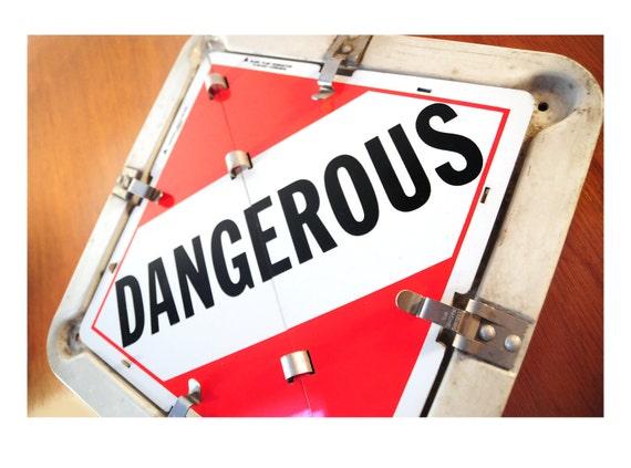 Vintage Sign, Metal Hazardous Materials Warning Sign, 9 Warnings - Poison, Dangerous etc..., Industrial Decor, Teen Room Decor