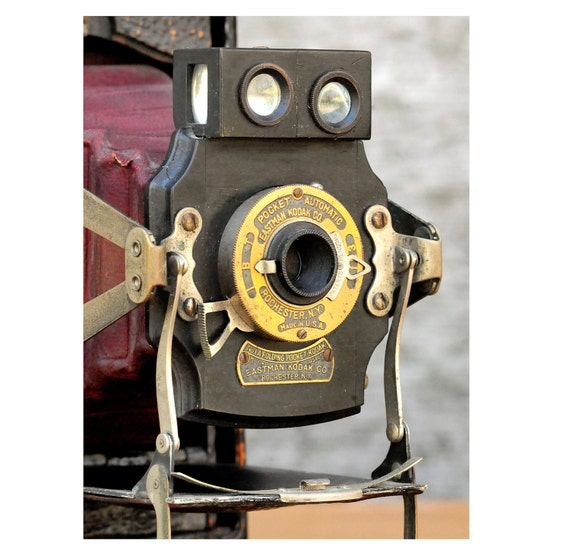 Camera -Twin Lens Viewfinder Kodak No.1 Model C Folding Pocket Automatic, Early 1900s, Red Bellows, Brass,A Vintage Beauty from Days Gone By
