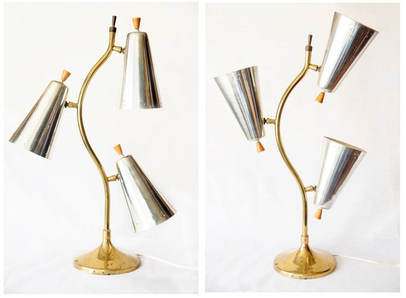 "Mid century modern lamp, 27"" tall,unique, three shades,maple switches,ball and socket,retro,atomic table lamp beauty"