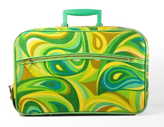 Groovy and Retro Wayfarer Suitcase,overnight,laptop case, swirls,teal,avocado,yellow,turquoise,olive, luggage - a Fab little retro Beauty