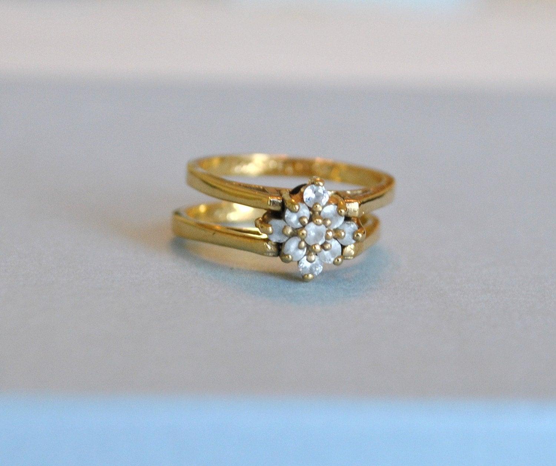 Vintage Lind Reversible Flip Ring Size 8 14k Gold Plated