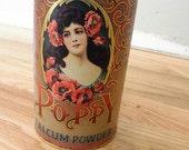Vintage Poppy Talcum Powder Tin
