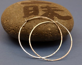 Silver Hoops, Ready to ship, Hammered Silver Earrings, 1.5 inch Silver Hoops, Gyspy Hoop, Medium Hoop Earrings, Silver Jewelry, Gift for Her