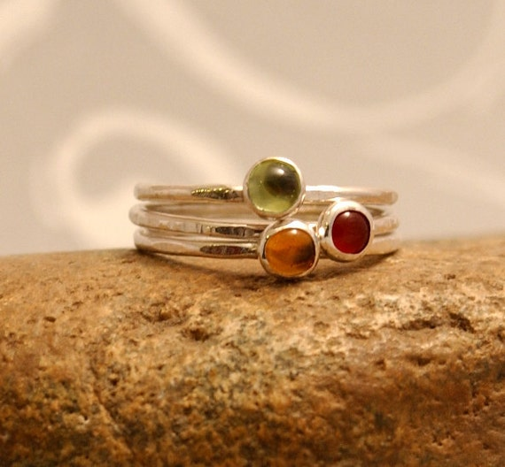 Stacking Rings, Autumn Jewels, Thin Silver Ring, Peridot, Carnelian, Citrine (3) Sterling Silver Thin Ring, Hammered, Cabachon