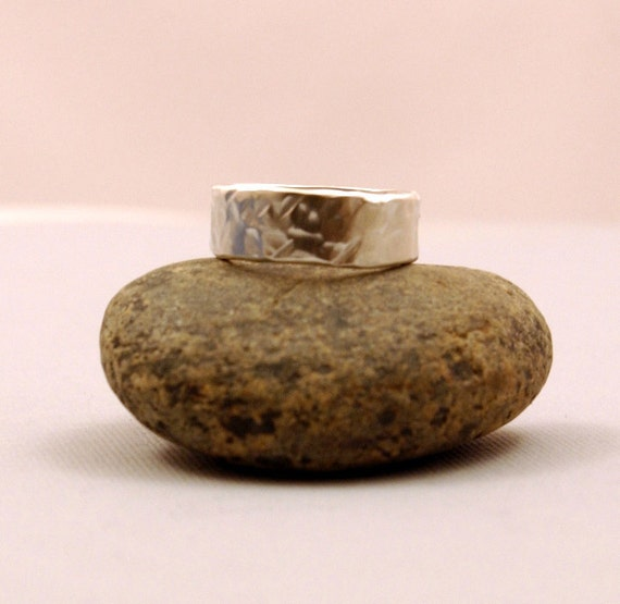 Silver Ring Hammered - Band Substantial - Unisex - Men - Women