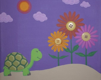 Mortimer the Turtle 8x8 Original Canvas Painting with FREE personalization