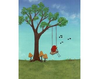 nursery art, art print, kids room art, bird art, Redbird Park pc 1 Swing Print and Mat from original bird mushroom art painting