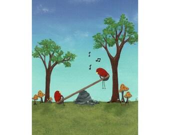 kid room art, nursery art, art print, bird art from original bird mushroom painting