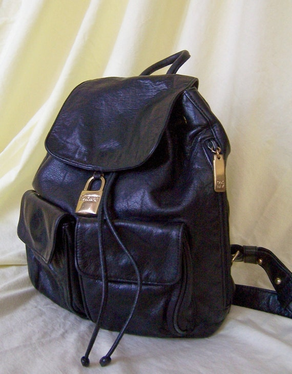 CITY CHIC vintage 90's black leather DKNY backpack purse