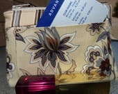 Stripes and Flowers Zipper Coin Purse/ Mini Wallet with outside pockets