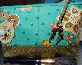 Handmade Zipper Cosmetic Bag/Pouch in Teal Floral Print