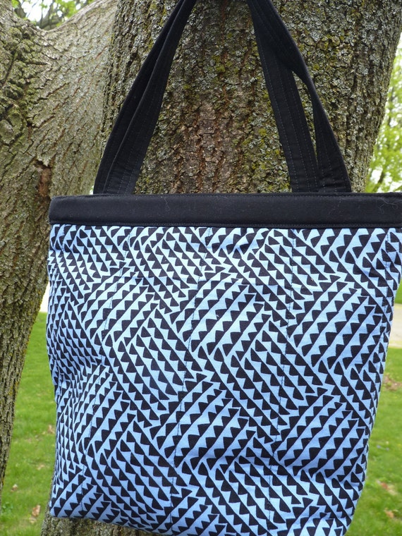 Handcrafted Snap Handle Fabric Purse / Tote in Blue and Black