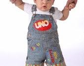 UNO Birthday Overalls Personalized Sizes 12 months to 24 months 1st Birthday BIrthday Shirt Outfit