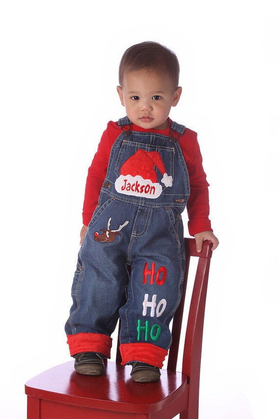 Personalized Santa Overalls  6 months to 5T