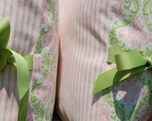 Duvet Cover Companion Items - Pink & Green Pillow Shams - Girls Bedding