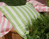 Euro Sham - Duvet Cover Companion - Girls Bedding - Green Awning Stripe